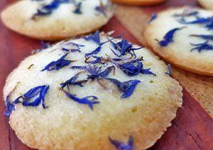 Biskuits mit blauen Kornblumenblüten