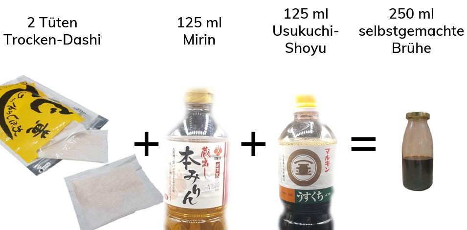 Rezept für ein Dashi-Konzentrat aus Mirin, Sojasoße und Dashi-Paku (Katsuobushi, Shiitake, Kombu)