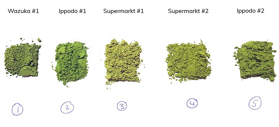 Test mit fünf verschiedenen Matcha-Präparaten