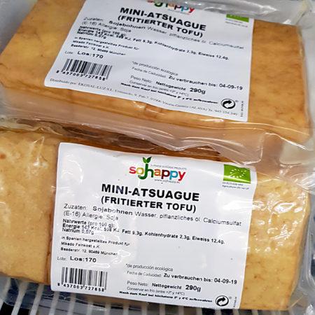 Atsuage Tofu ist frittierter Tofu, den man in der Pfanne nur noch kurz anbrät
