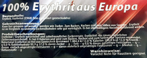 Hinweise auf einer Erythritpackung