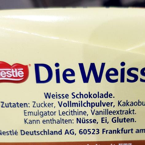 Die Weisse von Nestle - Zutatenliste