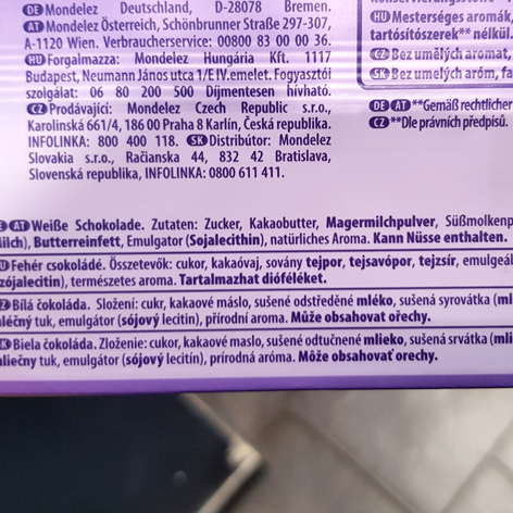 Zutaten der weissen Schokolade von Milka