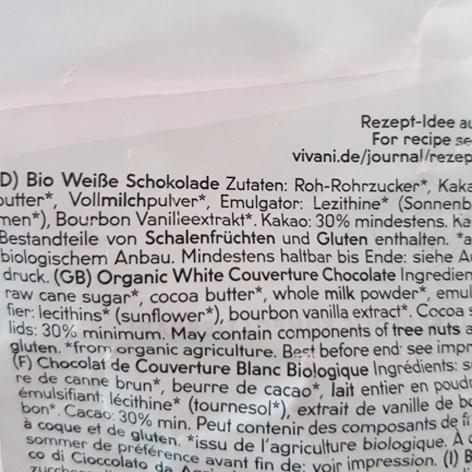 Zutaten weiße Kuvertüre von Vivani