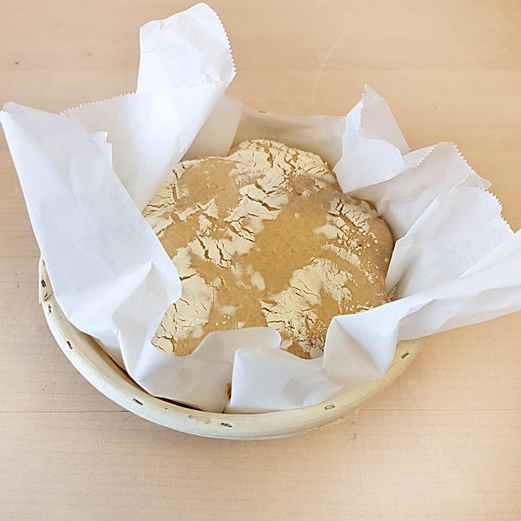 Brot ohne Kneten - Teig in einem Gärkorb auf Backpapier gehen lassen (final rise)