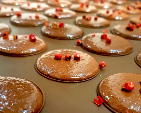 Kakaokekse auf der Pavoni Silikonbackmatte