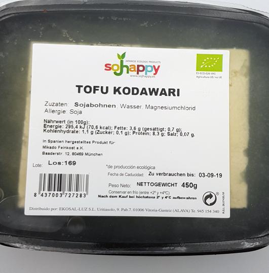 Tofu des Herstellers Sojhappy