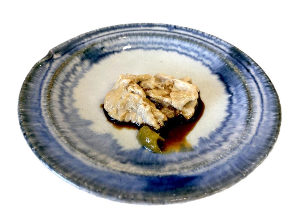 Yuba Sashimi - frisches Yuba mit Wasabi und Sojasoße