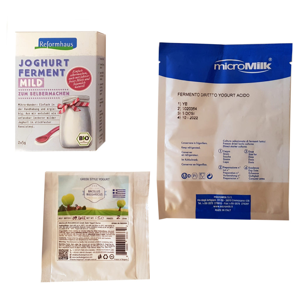 Drei Joghurt-Starterkulturen