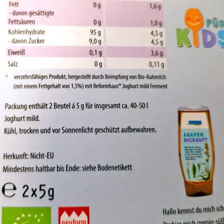 Joghurt-Starterkultur aus dem Reformhaus - Rückseite